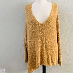 FREE PEOPLE mustard yellow deep V chunky sweater M
